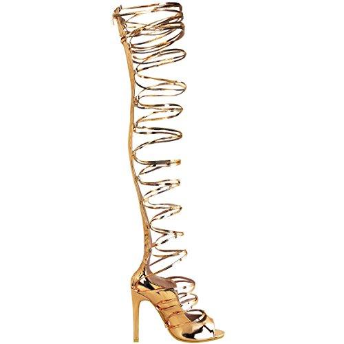 donna aderenti, alti con lacci stiletto tacchi sandali sexy party Stivali numero UK - rosa dorato metallizzato, 36