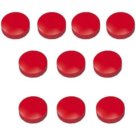 Faxland, 30 magneti rotondi da 24 mm, per lavagna da parete, frigorifero, lavagna magnetica, colore: nero, rosso