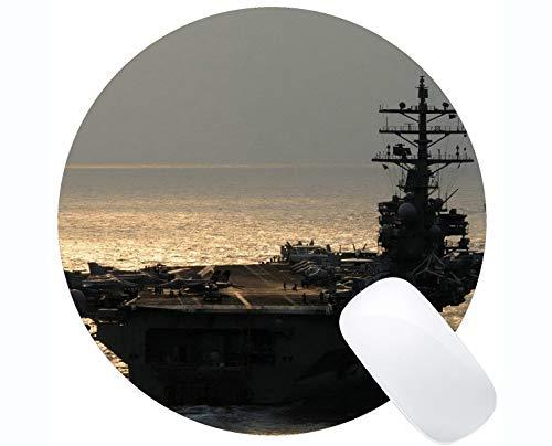 Runde Mauspad mit genähter Kante, Flugzeugträger USS Ronald Reagan Rutschfeste Gummimaus-Matte