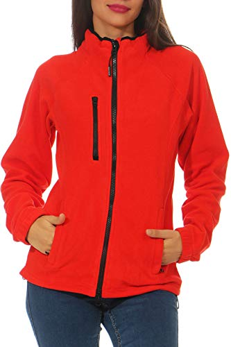 Happy Clothing Damen Fleecejacke Microfleece Outdoor-Jacke ohne Kapuze mit Kragen Dunkelblau Schwarz S M L, Größe:M, Farbe:Rot