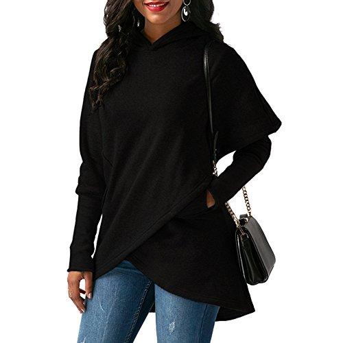 Femmes Sweats à capuche - Tops de Sport Couleur Unie Hoodies Slim Manches Longues Ourlet Asymétrique Casual Veste Chaud Pull Manteau S-5XL Noir