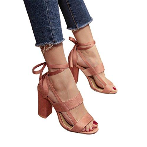 Hot Sale!Sandalen Damen, Sonnena Frauen Mode Sandalen Knöchel High Heels Block Party Offene Zehen Schuhe Solid/Square Heel/Knöchelriemen/Knöchel/Super Hoch/Gummi (Sexy Rosa, 33) -