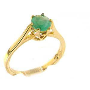 Luxury 9ct Yellow Gold English Made Emerald Solitaire 0.75ct 3/4ct Ring - Size K - Finger Sizes K to Z Available