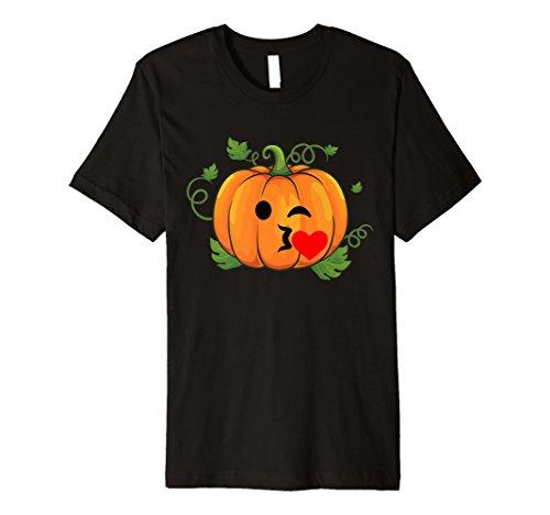 Kürbis Emoji T-Shirt Kiss Herz Halloween Thanksgiving Geschenk
