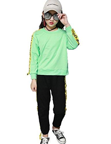 Kind Mädchen Kleidungs Set 2pcs Mode Manica Lunga Wort Seite Tops and Baumwolle Hose Sportanzug Freizeit Studentin ZYS , green , 110cm