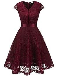 43665d4ba MuaDress Fashion Vestido Corto De Fiesta Elegante Mujer De Encaje Escote en  V Estampado Flor Vestido