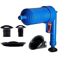 Finesgo Alta Presión Drenaje Aire Blaster Limpiador de plástico ABS rastra de la tubería Sanitarios Tuberías y desagües tapados con 4 adaptadores