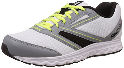 Reebok Men's Explore Run White, Flat Grey and Neon Yellow Running Shoes - 7 UK  available at amazon for Rs.1499
