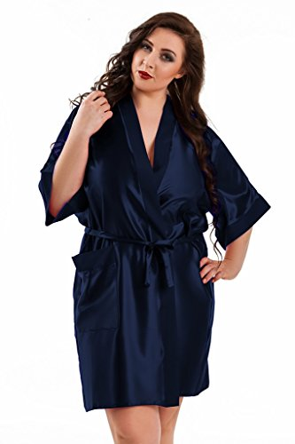 Nine X -Morgenmantel Kimono kurz aus Satin Größen S-6XL. Made In EU, 10 Farben Navy