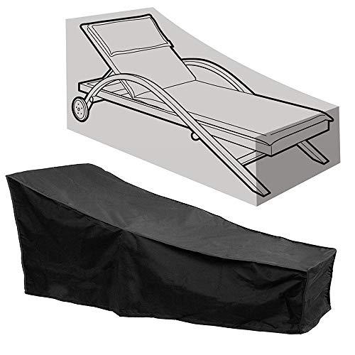 Amasawa Abdeckung für Gartenliege Atmungsaktives Wasserdichtes Sonnenliege Schutzhülle 420D Oxford-Gewebe für Liegestuhl Sonnenliege Deckchair (Schwarz)