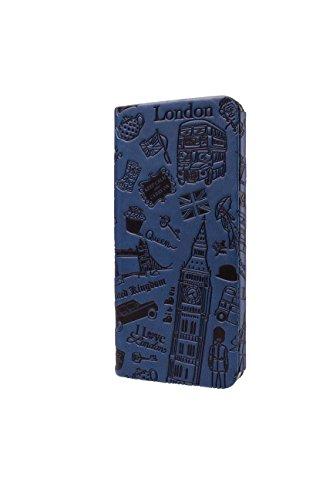 """Ozaki iPhone 6 4.7"""", O!Coat 0.3 Etui à rabat en Cuir, Coque intégrée, Bookstyle Book Case, Housse, C Design villes Orange (New York) Bleu (Londres)"""
