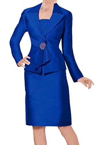 Sunvary Glamour Neu Kurz Mutterkleider 2017 Satin Abendkleider mit Jacke Royalblau
