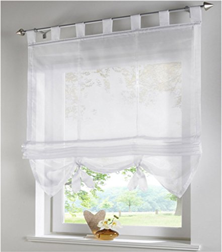 SIMPVALE Condole estilo romano L caida sombra ventana cortina para balcon y de la cocina, Blanco, 140cm*155cm