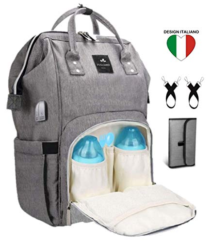 Zaino Mamma Multifunzione Vulcano Design Neonato Fasciatoio Impermeabile Borsa Passeggino con due ganci Grande capacità con...