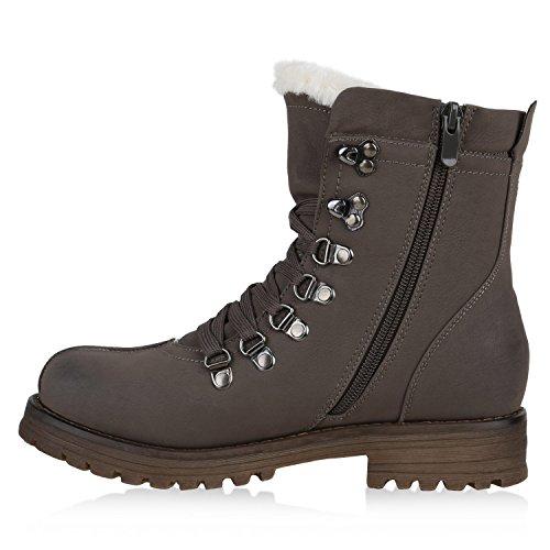Worker Boots Damen Kunstfell Stiefeletten Bequeme Warm Gefüttert Grau Weiss