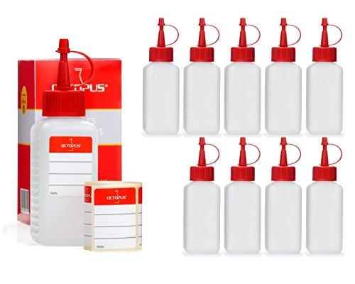 10 x 100 ml Octopus Kunststoffflaschen, Plastikflaschen aus HDPE mit roten Spritzverschlüssen bzw. Tropfverschlüssen, z.B. für E-Liquids / E-Zigaretten, chemikalienresistent, inkl. 10 Beschriftungsetiketten