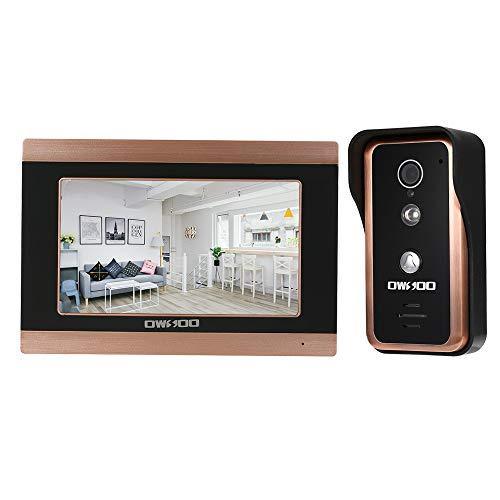 OWSOO Video-Türsprechanlage 7 Zoll Monitor Wired WiFi Türklingel Intercom-Entry-System mit 1000TVL Wired IR-Cut Kamera Unterstützung Nachtsicht APP Remote Intercom, Entsperren, Aufnahme, Snapshot (Intercom-wifi)