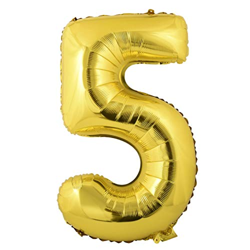 � Ballon Folie Helium Zahl - (5, Gold, XXL) - als Dekoration für Geburtstag, Jubiläum, Hochzeit ()