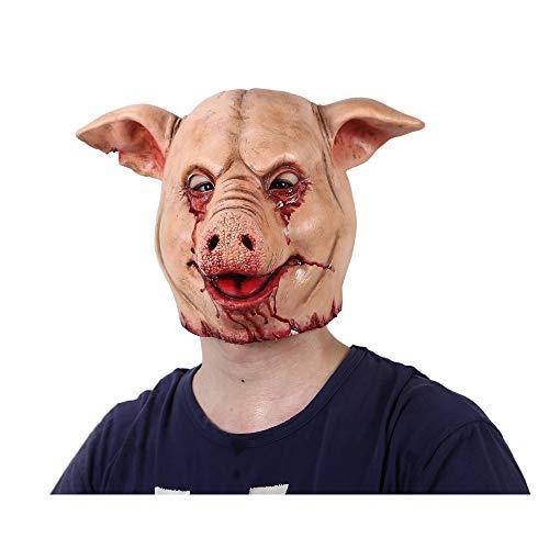 Beängstigend Kostüm Schwein - Horror Schwein Overhead Tier Maske Latex Schwein Maske Halloween Kostüm Beängstigend Säge Schwein Maske Voller Kopf Horror Böse Tier