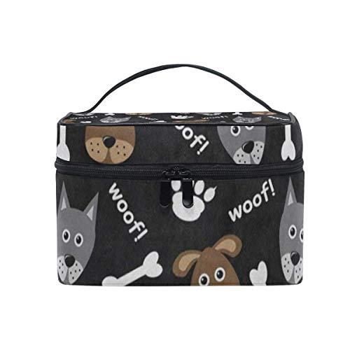 Kosmetiktasche, Make-up Tasche, Cosmetic Bag Wolf Paw Print Bone Womens Makeup Organizer Girls Toiletry Case Box Lazy Zip Bag -