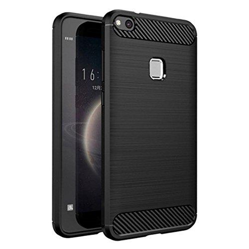 Cover Huawei P10 Lite, LONVIPI Custodia P10 Lite Nera Morbida Flessibile Antiurto Sottile Leggera Anti Scivolo Protettiva Antigraffio Guscio Slim Bumper P10 Lite Cover Black