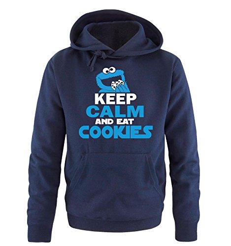 Comedy Shirts - CEEP CALM AND EAT COOKIES - Uomo Hoodie cappuccio sweater - taglia S-XXL vari colori blu navy / bianco-blu
