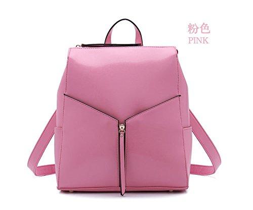Mefly La Nuova Femmina Zaino In Pelle Viaggio Multifunzionale Di Borsette In Cuoio Rosa Pink