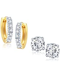 VK Jewels Gold And Rhodium Plated Alloy CZ American Diamond Earrings Combo Set For Women & Girls [VKCOMBO1613G]