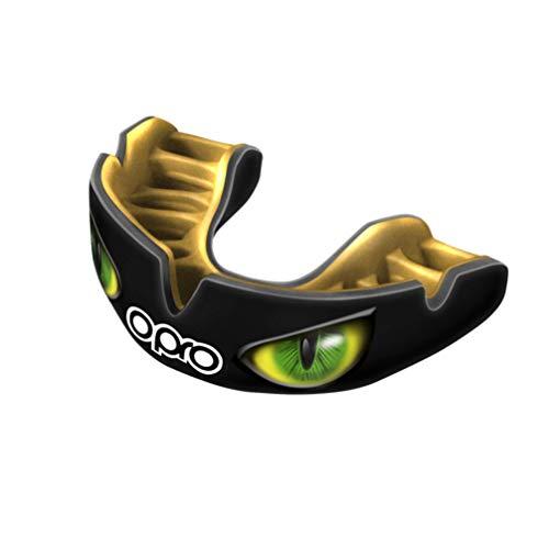 Opro Power-Fit   Protège-Dents Fait Main Adulte   Bouclier de Gomme pour Le Rugby, Le Hockey, et d'autres Sports de Contact (10 Ans et Plus)   Garantie Dentaire de 18 Mois (Les Yeux - Noir/Or/Vert)