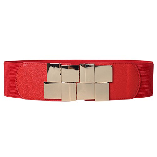 Patent Leder Schnalle Gürtel (HowYouth® Damen Breit Metall Schnalle Stretch Elastisch Taille Gürtel Vielfalt (Rot 03))