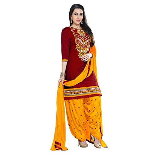DV FASHION Women's Red & Yellow Color Printed Cotton Salwar suit