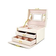 Idea Regalo - Portagioie Scatole per Gioielli Porta Gioielli Beauty Case Salvaspazio Scatola Custodia Box Scatola con Specchio Scatola Anello - Bianco