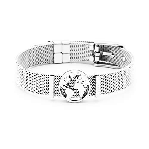 and Damen | Individuelle Anhänger Charms | Edelstahl | Weltkarte | Charmband Set Frauen | Worldmap Bracelet (One World - Silber) ()