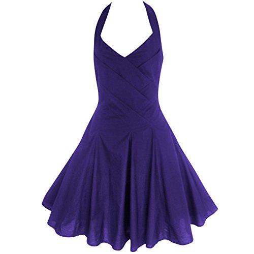 LOOKFORTHESTARS Damen Neckholder Kleid schwarz schwarz 40 Cadbury lila