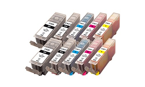 Preisvergleich Produktbild Peach 10er-Pack Tintenpatronen, XL-Ergiebigkeit,  kompatibel zu Canon PGI-520, CLI-521