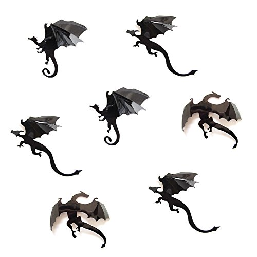 Oblique Unique® 3D Drachen Dino Dinosaurier 7 Stück Dekoration Wandtattoo Halloween