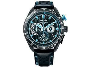 Pulsar PU2055X1 World Rally Blue Chronograph Strap Mens Wrist Watch Steel