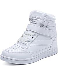 BAINASIQI Damen Sportschuhe High Top Sneakers Wedges Keilabsatz Schuhe  Laufschuhe Klettverschluss Freizeitschuhe hochhackige Turnschuhe Weiß  Schwarz 7db21ae68c