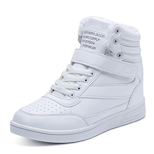 BAINASIQI Damen Sneakers High Top Sportschuhe Wedges Keilabsatz Schuhe Laufschuhe Atmungsaktive Freizeitschuhe Turnschuhe (EU 40, Weiß-02)