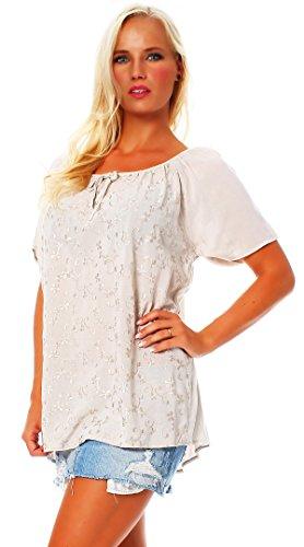 ZARMEXX Fashion - Camicia - Tunica - Basic - Collo a U  -  donna Beige