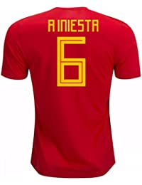 2018-19 Spain Home Football Soccer T-Shirt Camiseta (Andres Iniesta 6)