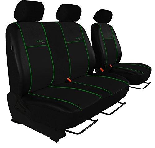 POK-TER BUS Autositzbezug Super Qualität für Bus und Transporter (Fahrersitz + 2er Beifahrersitzbank). Design Kunst-Line. Hier mit grüner Lamelle
