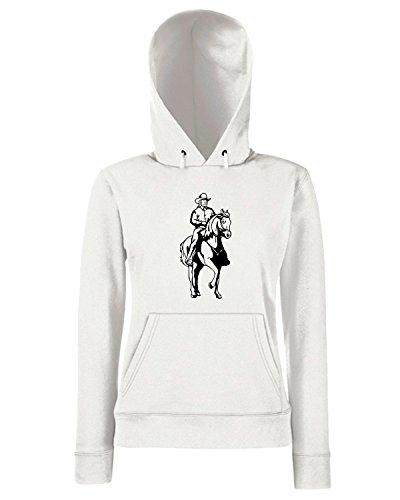 T-Shirtshock - Sweats a capuche Femme FUN1069 cowboy western decals 11 24796 Blanc