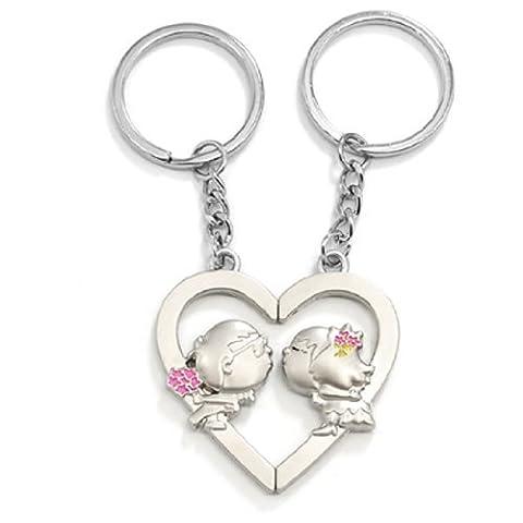 sourcingmap® Herz Kuss Anhänger Silber Paar Liebhaber Schlüsselanhänger