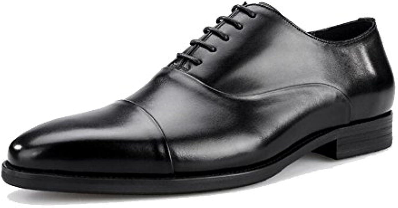 LXMEI Zapatillas de Hombre de Tres articulaciones de Piel de Alta Gama, Zapatos de Negocios Formales con Cordones... -