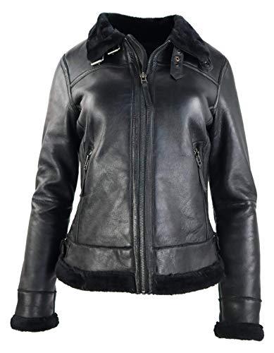 RICANO 48001, Damen Lederjacke mit Fellkragen und Fellfütterung, aus echtem Lamm Nappa Leder in...