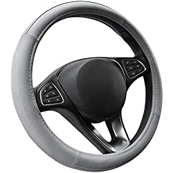 Cofit Microfiber Leather Steering Wheel Cover Universal Size 37-38cm Full Grey