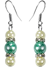 [Sponsored]CRYSTAL & BEADS Aquamarine Green Colour Round Pearl & White Colour Pearl With Diamond Spacer Earring