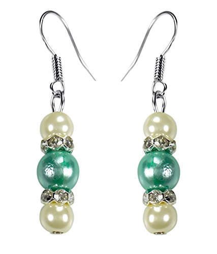 CRYSTAL & BEADS Aquamarine Green Colour Round Pearl & White Colour Pearl with Diamond Spacer Earring