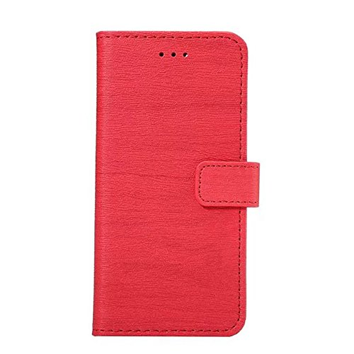 EKINHUI Case Cover Hölzernes Beschaffenheits-Muster PU-lederner Mappen-Kasten-Abdeckungs-Folio-Standplatz-Fall mit Einbauschlitzen für iPhone 7 ( Color : Black ) Red